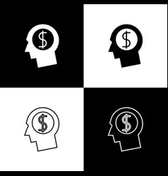 set business man planning mind icons on black and vector image