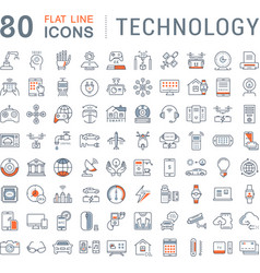 Set flat line icons technology vector