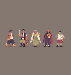 set mix race people in different costumes standing vector image