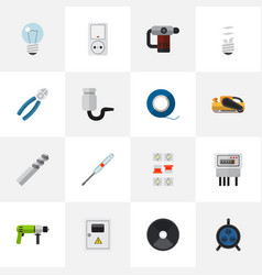 Set of 16 editable electrical icons includes vector