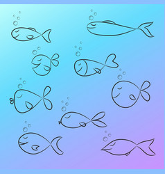 set of fish sketch on gradient background vector image