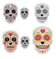 set sugar skulls design elements for poster vector image