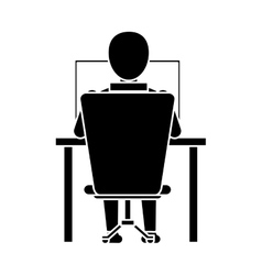 silhouette guy back working laptop chair desk vector image