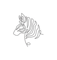 single continuous line drawing elegant zebra vector image