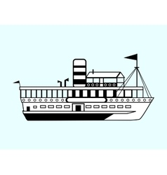 small white retro ship vector image