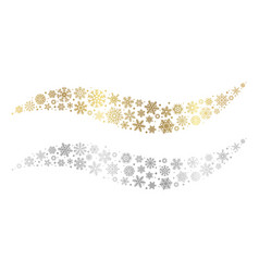 snowflake waves gold silver snowflakes vector image