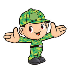 soldier mascot welcome isolated on white vector image