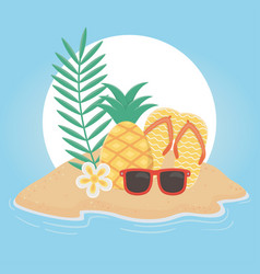 summer travel and vacation flip flops pineapple vector image