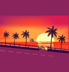 Sunset beach palm trees silhouettes summertime vector