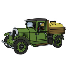 The vintage green tank truck vector