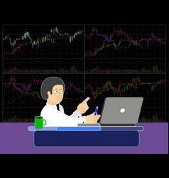 Trader at work vector