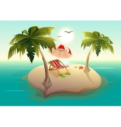 Tropical island in sea Palm trees sand sun vector image