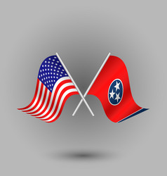 Two crossed american and flag of tennessee vector