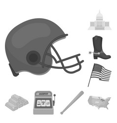Usa country monochrome icons in set collection for vector