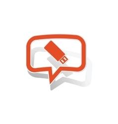 USB stick message sticker orange vector