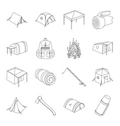 Various kinds of tents and other tourist vector