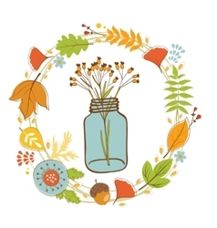 Wild flowers in a glass jar with floral wreath vector image vector image