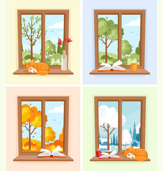 windows with seasons and weather landscape vector image