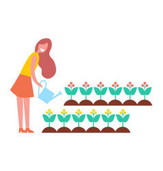 Woman working in garden with flowers cartoon icon vector