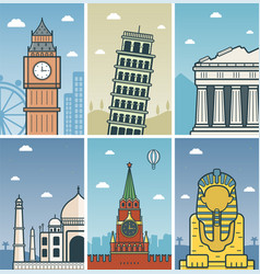 world landmarks design with cities skylines vector image