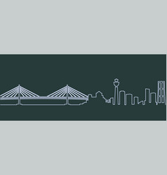 Yokohama single line skyline vector