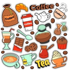 Coffee and Tea Badges Patches Stickers vector image vector image