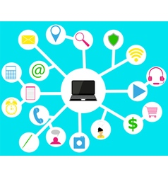 laptop and Icons vector image vector image