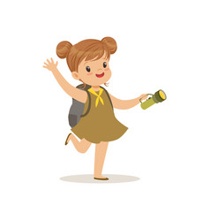 lovely little girl in scout dress with flashlight vector image vector image