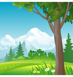 Mountain forest square background vector image vector image