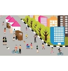 people jogging walking activities road on car free vector image