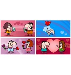 valentines cartoon greeting card set vector image vector image
