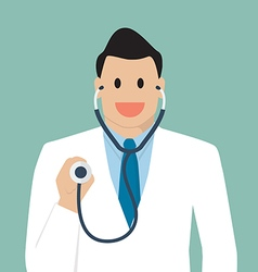 Doctor holding stethoscope vector