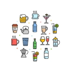 Drink Round Design Template Thin Line Icon vector image vector image