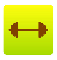 dumbbell weights sign brown icon at green vector image vector image
