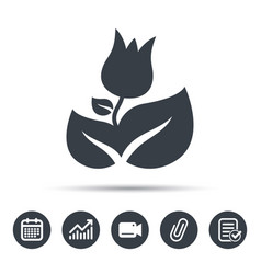 Rose flower icon florist plant with leaf sign vector