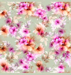 seamless pattern with pink abstract flowers and vector image vector image