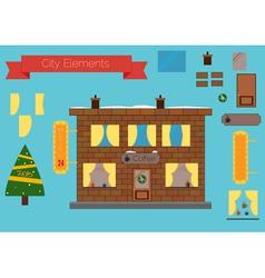 Set of building elements flat design Christmas tre vector image vector image