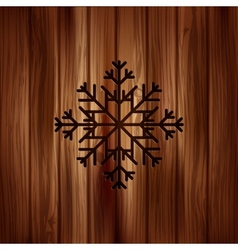 Snowflake icon Wooden background vector image
