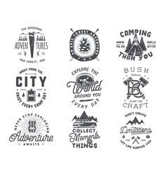 vintage hand drawn travel badge and emblem set vector image vector image