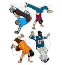 break-dancers set vector image vector image