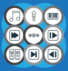 set of 9 audio icons includes following song vector image vector image