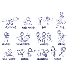 Spports doodle set on white vector image vector image