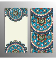 Vertical banner with tribal ornament vector image