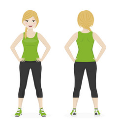 blond woman with a braid playing sport with green vector image