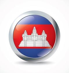 Cambodia flag button vector image vector image
