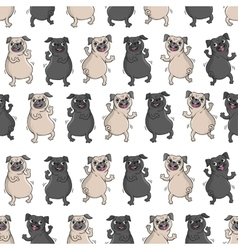 Dancing pugs Seamless pattern vector image vector image