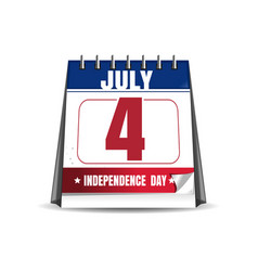 desktop calendar with the date of 4 july vector image vector image