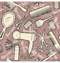 hairdressing equipment seamless patternVintage vector image