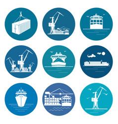 set of marine freight transportation icons vector image