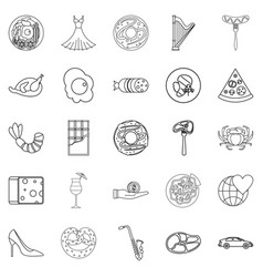 stag icons set outline style vector image
